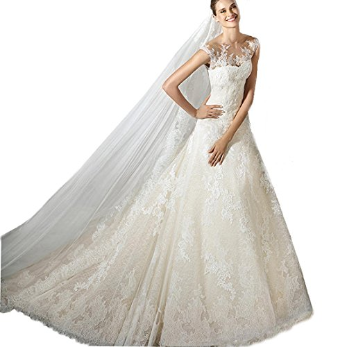 Yuxin Women's Lace Elegant Wedding Dress for bride 2017 Mermaid Appliqued Illusion Back Bridal Wedding Gown