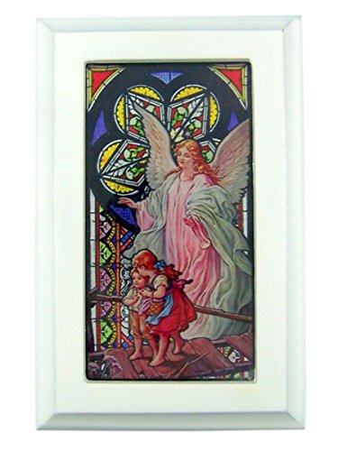 Catholic Religious Guardian Angel Stained Glass White Wood Musical Jewelry Box, 6 1/2 - Stained Angel Glass