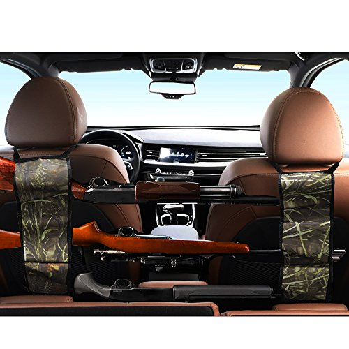 Seat Back Gun Rack – Sling Storage Organizer with Pockets For Rifle Hunting – Hunting Gun Organizer Holder Rack Accessories For Hunting Shotgun in Cars Trucks SUV Reed Camo 1 Pair (2 pieces)