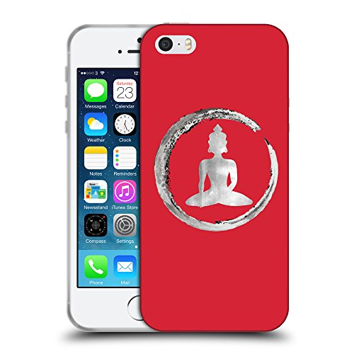 GoGoMobile Coque de Protection TPU Silicone Case pour // Q10020601 Bouddha assis 13 Alizarine // Apple iPhone 5 5S 5G SE