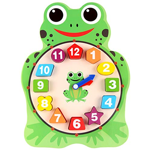 - DreamsEden Wooden Clock Toy, Educational Digital Cartoon Blocks, Teaching Kids to Tell Time Number Shape for 3 Yrs Up (Frog)