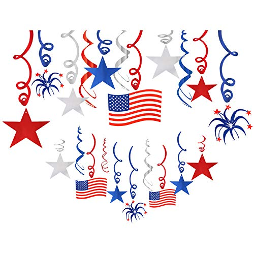 Unime 30 Ct Fourth of July Patriotic Decorations Hanging Swirl - 4th of July Independence Day Decorations American USA US Flag,Foil Streamer,Stars Red White Blue Party Supplies