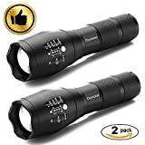 Tactical Flashlight, Ouyoooo Ultra Bright LED Portable Water Resistant Flashlight with Adjustable Focus and 5 Modes - Best for Home, Outdoor, Emergency and Gift-Giving (2 pack)