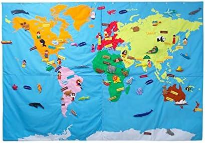 DAM Mapamundi de Tela Gigante 90 x 120: Amazon.es: Juguetes y juegos