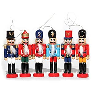 Naimo Set of 6 Christmas Wooden Nutcracker Soldier Ornament Decoration for Home Christmas Gift