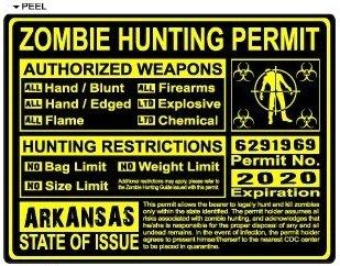 Arkansas AR Zombie Hunting License Permit Yellow - Biohazard Response Team - Window Bumper Locker Sticker
