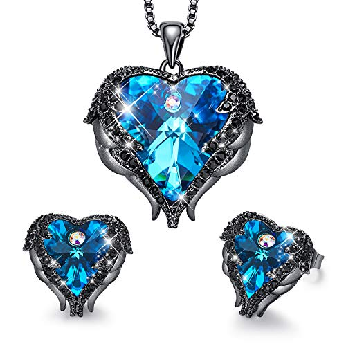 CDE Jewelry Set for Women Heart Shape Pendant Necklace and Studs Earrings Embellished with Crystals from Swarovski Dark Blue Heart of Ocean Pendant Necklace Set Gifts for Mothers ()
