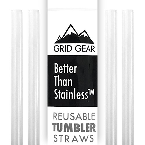 Reusable Tumbler Straws for 30 oz RTIC YETI Ozark Trail | Thick Plastic | works with 16 20 ounce Tervis | Mason Jar Straw Lids | Better Than Stainless Steel | 4 Straws per (Chew Straws)
