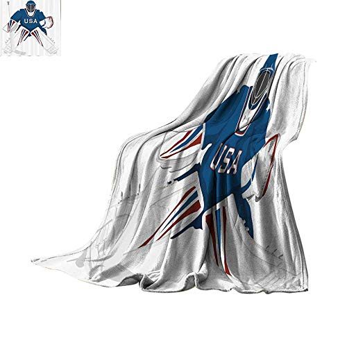 (Lightweight Blanket Sports Decor Collection,Team USA Hockey Goalie Protection Jersey Sportswear Illustrations Design Print,Burgundy Blue White Print Summer Quilt Comforter Bed or Couch 60