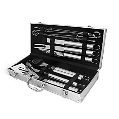 Stainless Steel BBQ Grill Accessories: 12 Piece Utensil Tool Set for Indoor Outdoor Cooking – Includes Spatula, Tongs, Skews, Brush & Carving Knife – The Perfect Gift from SMM Group LLC