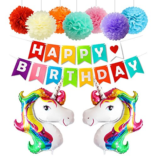 Happy Birthday Party Decorations Supplies with Unicorn Balloons Birthday Banner Tissue Paper Flowers Rainbow 22 PCS (Easy Halloween Crafts Tissue Paper)