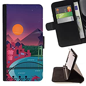 DEVIL CASE - FOR Samsung Galaxy S3 Mini I8190Samsung Galaxy S3 Mini I8190 - Modern Polygon Art Pattern Mountains - Style PU Leather Case Wallet Flip Stand Flap Closure Cover