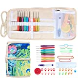 Damero Ergonomic Crochet Hooks Set, Travel Canvas Roll Organizer with 9pcs 2mm to 6mm Soft Grip Crochet Hooks and Complete Knitting Accessories, All in One, Easy to Carry, Painting