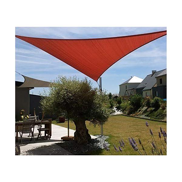 HEWYHAT Vela Telo Parasole Tenda Triangolare Ombreggiante in HDPE 3x3x3m Resistente Protezione UV 95% per Ombra Giardino Terrazzo con Aggancio Occhielli,Rust Red 4 spesavip