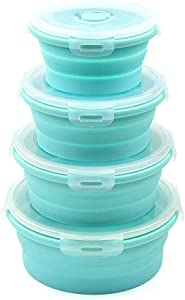 URBEST Collapsible Bowls, Silicone Food Storage Containers with Lids for Camping, Set of 4 Round Silicone Lunch Containers, Microwave and Freezer Safe (Blue, 4)