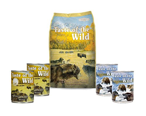 Taste Of The Wild Dog-Food Grain free High Prairie With Roasted Bison 6 Pack 1 Bag 4 Cans & 1 Lid
