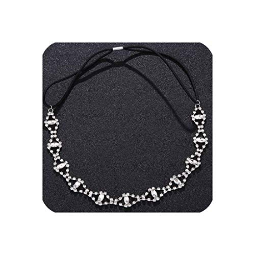 awret Simple Refinement Head Bands for Women Elasticity Rhinestone Hairbands Handmade Crystal Wedding Hair Jewelry for Bride,Silver ()