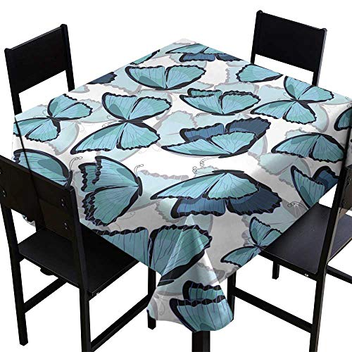 Tablecloth Covers for Home Seamless Pattern The Butterfly Blue Morpho Monarch Vector illust,W70 x L70 for Umbrella - Umbrella Morpho Blue
