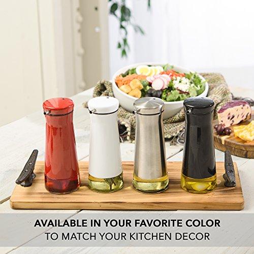 CHEFVANTAGE Olive Oil and Vinegar Cruet Dispenser Set with Elegant Glass Bottle and Drip Free Design - Red by CHEFVANTAGE (Image #5)