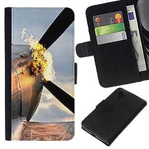 // PHONE CASE GIFT // Moda Estuche Funda de Cuero Billetera Tarjeta de crédito dinero bolsa Cubierta de proteccion Caso LG Nexus 5 D820 D821 / Flaming Plane /