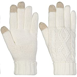 DG Hill Warm Texting Gloves For Women, Cable Knit Touchscreen Winter Text Gloves Cute & Cozy Fleece Lining Off-White One Size
