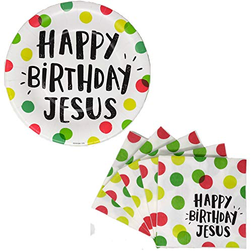 - Happy Birthday Jesus Party Bundle for Up to 20 Guests - 2 Items - Dessert Plates and Beverage Napkins