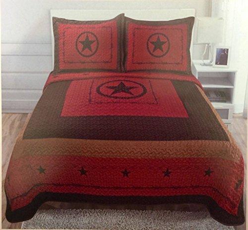 3 Piece Texas Western Design Star Barbed Wire Quilt BedSpread Comforter Style - Rustic Burgundy ()