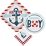Nautical Boy Baby Shower Supply Bundle For 16 Guests: 3 Items - Large Plates, Small Plates, Napkins