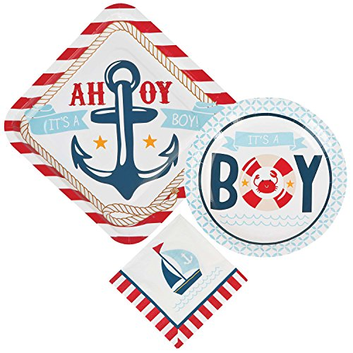 Nautical Boy Baby Shower Supply Bundle For 16 Guests: 3 Items - Large Plates, Small Plates, Napkins -