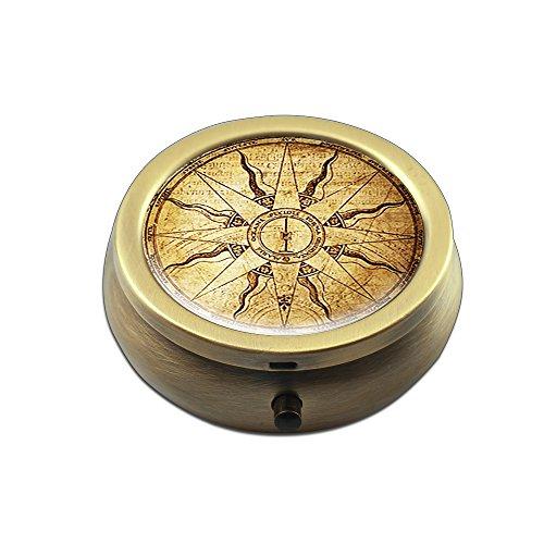 Pill Box - Cheliz Compact 3 Compartment Medicine Case, Pill Box for Pocket or Purse(Compass-1)