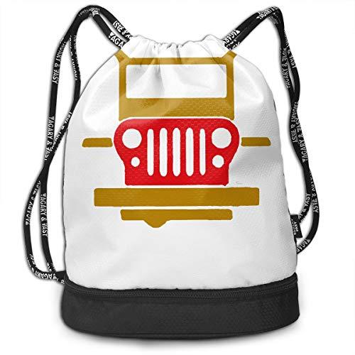 Zol1Q Men & Women Waterproof Large Storage Drawstring Backpack - Merry Christmas Merry Jeep Cinch Backpack Sackpack Tote Sack for Gym Hiking School