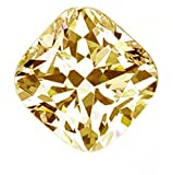 RINGJEWEL 4.40 ct VVS1 Cushion-Cut Loose Moissanite Off White Light Brown Color