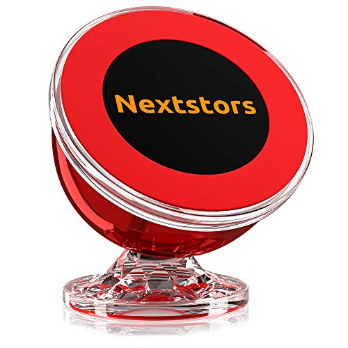 Nextstors Magnetic Phone Car Mount - Universal Magnetic Phone Holder for Car - 360 Degree Rotation from Dashboard - Cell Phone Holder for Car Compatible with All Smartphones (Red)