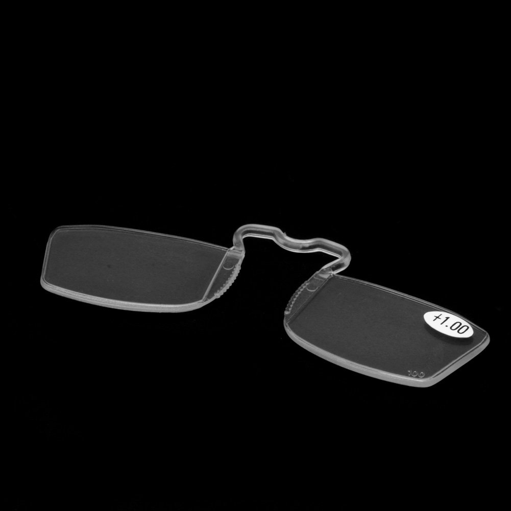 Wivily Women Men Clip On Reading Glasses Nose Clip Mini Small Eyeglasses (+1.0)
