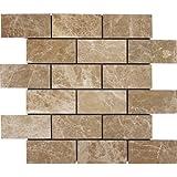 2 x 4 Brick Pattern Light Emperador Marble Polished Mosaics For Kitchen Bathroom Backsplash, Shower Walls & Flooring