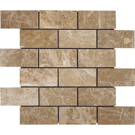 2 x 4 Brick Pattern Light Emperador Marble Polished Mosaics For Kitchen Bathroom Backsplash, Shower Walls & Flooring