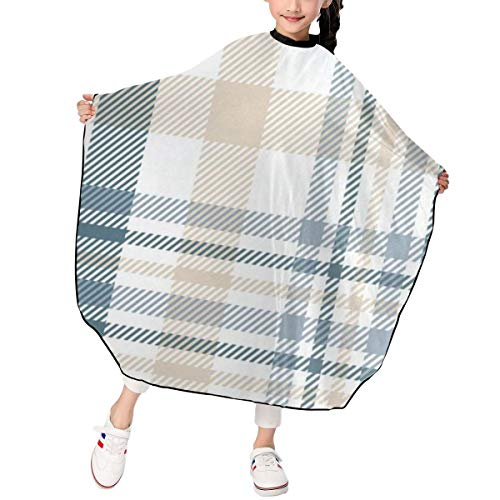 Kids Striped Plaid Tartan Gingham Checkered Haircut Apron Fantastic Hairdresser Hair Cutting Gown Waterproof For Haircut Styling Smock Cover Cloth