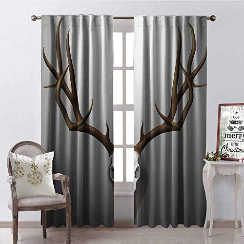 GloriaJohnson Antler Decor Blackout Curtain Realistic Deer Skull with Large Horns Elk Skeleton on Abstract Backdrop 2 Panel Sets W52 x L72 Inch Brown White Grey