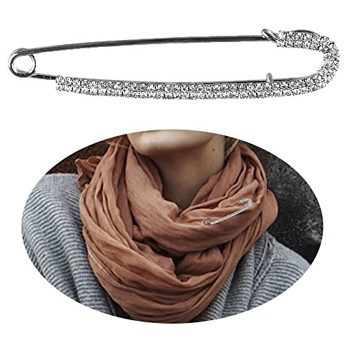Fashion Pin - Safety Pin - Women Rhinestone Sweater Pin Large Safety Pin Jewelry - Unique Punk Hat Breastpin Brooch Pin - Catch Scarf or Lapel - Candy Cane Shape with Imitated Crystal or (Fall Brooch Pin)