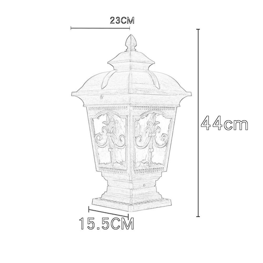 European Waterproof Pillar Light, Column Head Light/Door Column Light/Outdoor Wall Lamp, Villa Wall Door Lamp, Garden Lamp (Color : Bronze 1) by Outdoor lighting (Image #7)