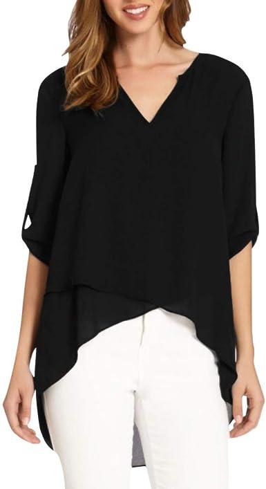 Women Long Sleeve Shirt Tops Vintage Loose High Low Blouse Irregular Hem Jumper