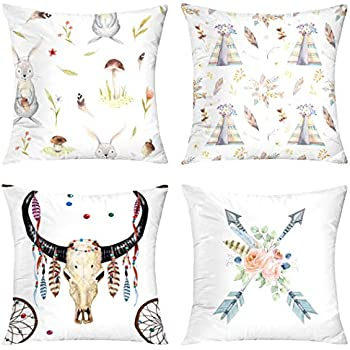 Boho Pillow case,Decorative Pillow Covers Set of 4 18X18 Cute Baby Rabbit Animal Nursery Watercolor Arrows Flowers Buffalo Skull Dreamcatcher Feather Ribbon White Throw Pillow Case Cushion f