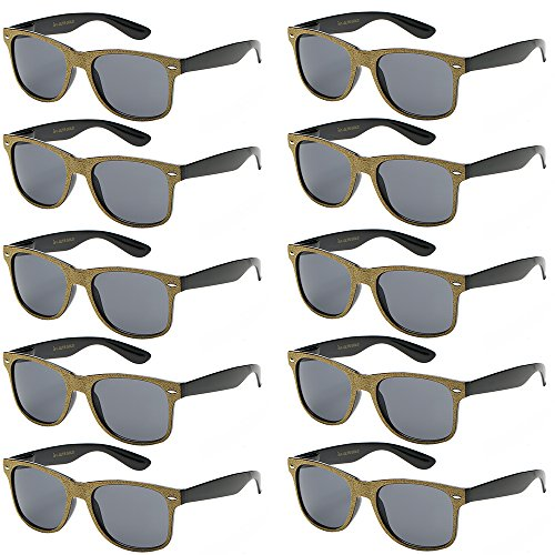 WHOLESALE UNISEX 80'S RETRO STYLE BULK LOT PROMOTIONAL SUNGLASSES - 10 PACK (Glitter Gold/Smoke, 52)