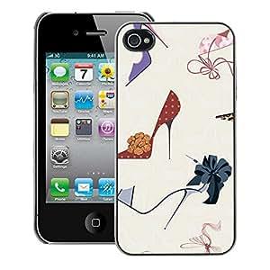 A-type Arte & diseño plástico duro Fundas Cover Cubre Hard Case Cover para iPhone 4 / 4S (Fashion Stiletto Woman Pastel)