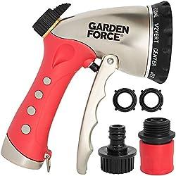 Garden Hose Nozzle / Hand Sprayer By Garden Force , 10 Spray Patterns, Heavy Duty Leak Proof Zinc Alloy Design, Rust Resistant Chrome Plating, Flow Control For Precise Water Pressure, BONUS 2 Washers