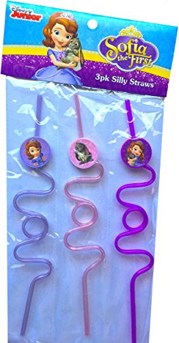 Disney Sofia the First and Friends 3 Pack Reusable Silly Straws Perfect Summer Gift Toy Idea for Children