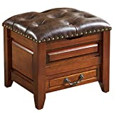 Genuine Leather Upholstered Storage Stool Wood Retro Small Low Chair with Drawer and Lift Top, Button-Tufted, Home Sofa Bed End Foot Stool (Color : Brown)
