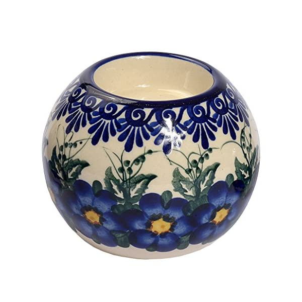 Traditional Polish Pottery, Handcrafted Ceramic Tea Light Candle Holder, diameter 9cm, Boleslawiec Style Pattern, D.502.PANSY