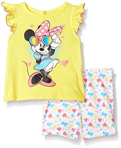 Disney Baby Girls' Minnie Mouse 2-Piece Knit Top and Bike Short Set, Aurora, 12m