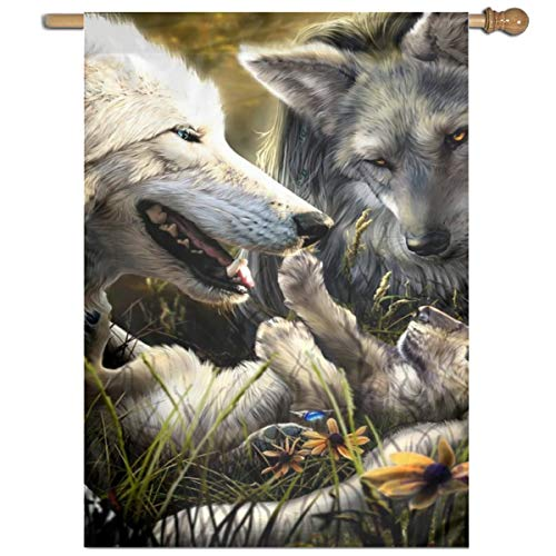 YUANSHAN Single Print Home Garden Flag Warm Wolves Family Polyester Indoor/Outdoor Wall Banners Decorative Flag 27